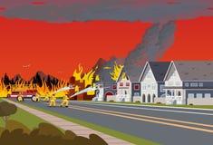 Пожарные тушат городок Лесной пожар концепции иллюстрация вектора