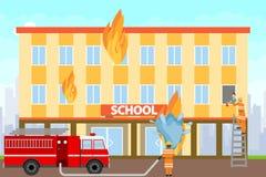 Пожарные тушат горящее здание Пожарные на пожарной машине потушить школьное здание с водой иллюстрация вектора
