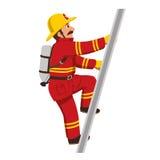 Пожарный взбираясь лестницы иллюстрация вектора