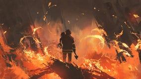 Пожарный держа девушку стоя в горящих зданиях бесплатная иллюстрация