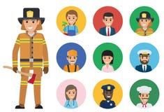 Пожарный и комплект людей различных работ иллюстрация штока