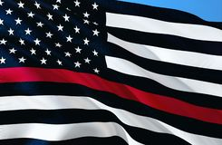 Пожарный мемориальные США ЧРЕЗВЫЧАЙНЫЕ ОБСЛУЖИВАНИ США ТОНКИЙ ФЛАГ США КРАСНОЙ ЛИНИИ Черно-белый дизайн флага США с тонкой красно иллюстрация вектора