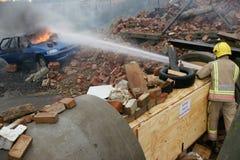 Пожарный, огонь автомобиля Стоковая Фотография