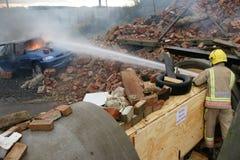 Пожарный, огонь автомобиля Стоковая Фотография RF