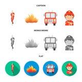 Пожарный, пламя, пожарная машина Значки собрания departmentset огня установленные в шарже, плоском, monochrome запасе символа век бесплатная иллюстрация