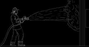 Пожарный поливая из шланга вниз с дома на анимации огня 2D видеоматериал