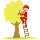 Пожарный спасает кота бесплатная иллюстрация