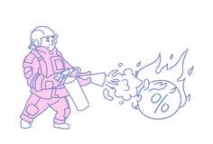 Пожарный туша пожарного человека концепции решения проблемы горящего кризиса дела бомбы задолженности процентов финансовый иллюстрация штока