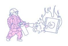 Пожарный туша средства массовой информации горящего видео-плейер онлайн течь характер концепции фильма кино нося красную форму иллюстрация штока