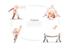 Пожарный - пожарный человека туша огонь, взбирающся вверх лестница, сохраняя люди и улавливать сверху набор концепции вектора иллюстрация штока