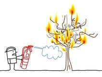 Пожарный шаржа и горящее дерево иллюстрация штока