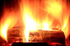 Пожар внутри камина Стоковая Фотография RF
