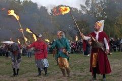 пожар вручает воинствующие сторонников Стоковые Изображения