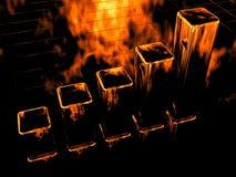 пожар диаграммы диаграммы в виде вертикальных полос 3d Стоковое Фото