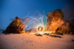 Пожар закручивая от стальных шерстей Стоковая Фотография RF