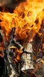пожар обшивает панелями деревянное Стоковое Изображение