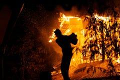 Пожар дома. Стоковое Фото