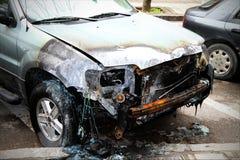 пожар поврежденный автомобилем Стоковая Фотография RF