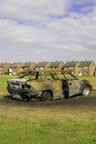 пожар поврежденный автомобилем Стоковое Изображение