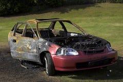 пожар поврежденный автомобилем Стоковые Фото