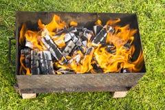 Пожар для барбекю Стоковое Изображение RF