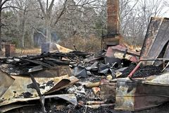 Пожар 3 дома Стоковое фото RF