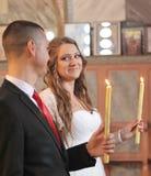 Пожененные пары в православной церков церков Стоковое Фото