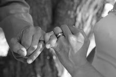 Пожененные пары держа руки с обручальными кольцами Стоковая Фотография
