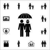 пожененные пары под значком зонтика Детальный комплект значков семьи Наградной качественный знак графического дизайна Одно из соб бесплатная иллюстрация