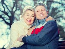 Пожененные пары сидя на скамейке в парке Стоковая Фотография