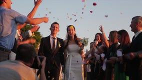Пожененные друзья поздравляют справедливую видеоматериал