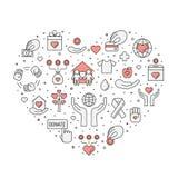 Пожертвования и иллюстрация сердца призрения (красная и серая) (предпосылка) Простой дизайн плана Стоковые Изображения