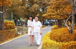Пожилая азиатская женщина идя для того чтобы сделать физическое с ручкой на парке, дочери принимает заботу и поддержку стоковые фотографии rf