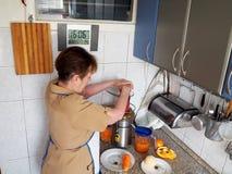 Подготовка сока от свежих фруктов и овощей стоковое фото