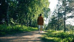 Пожилая женщина идя на путь леса на солнечный день сток-видео
