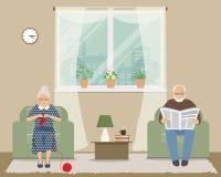 Пожилая женщина и старик сидят в креслах на предпосылке окна иллюстрация вектора