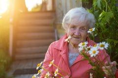Пожилая женщина около домов в деревне Стоковые Изображения