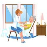Пожилая женщина сладкой медсестры мультфильма питаясь в кровати стоковые изображения rf
