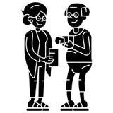 Пожилая семья пар на значке каникул, иллюстрации вектора, знаке на изолированной предпосылке иллюстрация штока