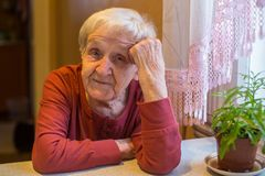 Пожилая хорошая женщина эмоционально говоря сидеть на таблице Стоковые Фотографии RF