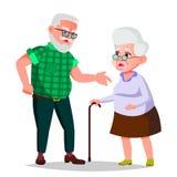 Пожилой вектор пар Дед и бабушка Смотрите на взволнованности счастливые люди совместно Изолированный плоский шарж иллюстрация вектора
