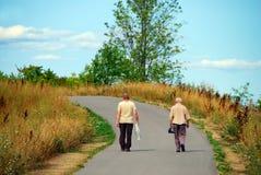 пожилой гулять друзей стоковое изображение