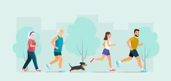 Пожилой и молодой бег пар с собакой иллюстрация вектора