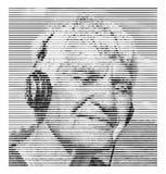 Пожилой человек в наушниках с закрытыми глазами слушая к музыке и усмехаться черная белизна портрета Линия влияние для фото стоковое фото rf