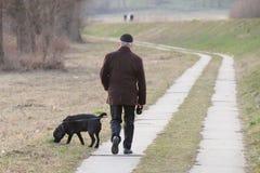 Пожилой человек в одеждах demi-сезона идет в парк с его черной собакой labrador Деятельность при утра резидентов города и стоковая фотография rf