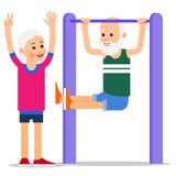 Пожилой человек делая тягу поднимает Один старший делать тяг-поднимает, st женщины бесплатная иллюстрация