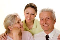 Пожилые пары с дочью стоковые изображения