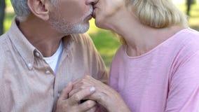 Пожилые пары целуя, счастливое замужество, зрелая любовь, встречая старость совместно стоковые фотографии rf