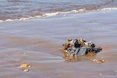 Пожитки хлама, одежды и домочадца помытые вверх от Атлантического океана на пляже Агадира, Марокко, Африке стоковая фотография