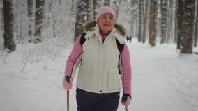 Пожилая женщина в древесине зимы Пенсионер работает идти Финляндии Скандинав очень полезен к healt видеоматериал